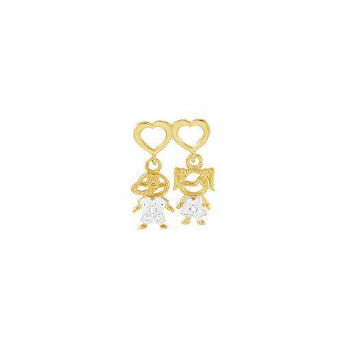 Pingente em Ouro 18K Menina e Menino com Zircônias - AU4104