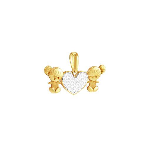 Pingente em Ouro 18k Meninas com Coração - AU3622