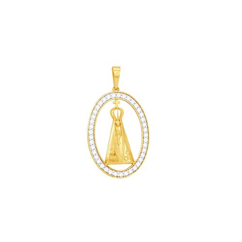 Pingente em Ouro 18K N. S. Aparecida com Zircônias - AU4664