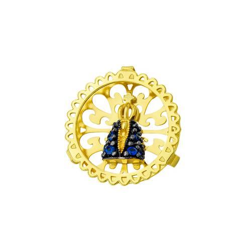 Pingente em Ouro 18k Nossa Senhora Aparecida com Zircônias Pi17564 Ouro Amarelo Único