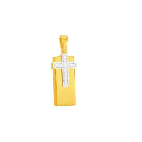 Pingente em Ouro 18K Placa Cruz com Diamante- AU5858