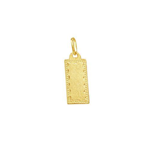 Pingente em Ouro 18K Placa Lisa Trabalhada - AU3762