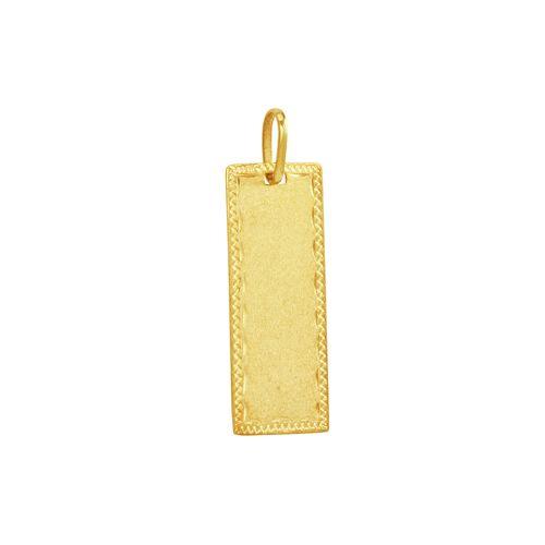 Pingente em Ouro 18K Placa Lisa Trabalhada - AU3763