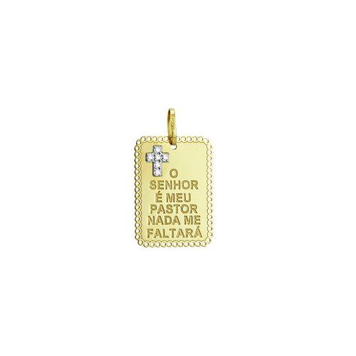 Pingente em Ouro 18K Placa o Senhor é Meu Pastor - AU1749