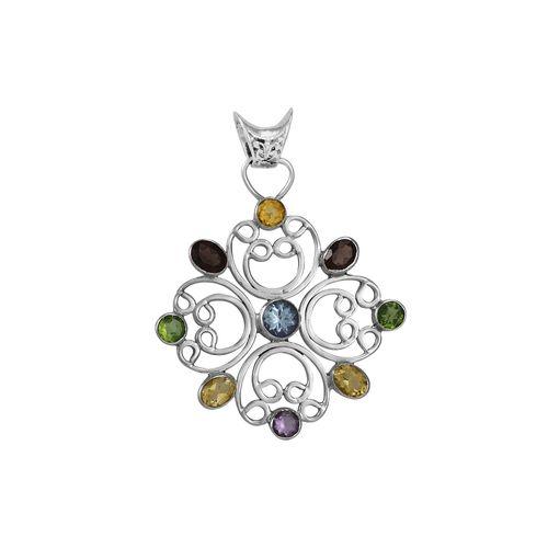 Pingente em Prata Flor com Pedras Naturais - 12236