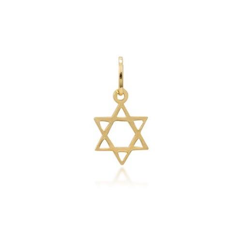 Pingente Estrela David Ouro Amarelo 18K - Religioso