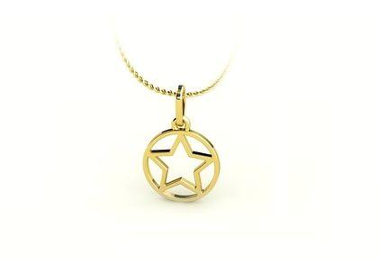 Pingente Estrela de Salomão Vazada Ouro Amarelo