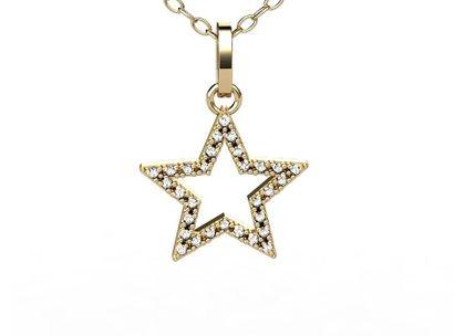 Pingente Estrela Diamantes Ouro Amarelo