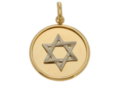 Pingente Medalha com Estrela de Davi Ouro Amarelo