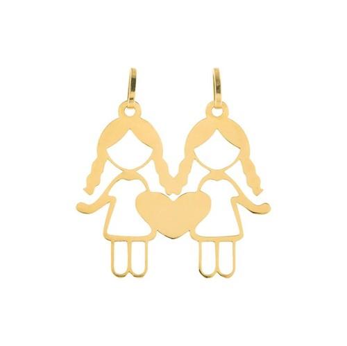 Pingente 2 Meninas Coração Ouro 18k 750