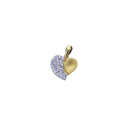 Pingente Ouro 18k Coração Fosco com Zircônia