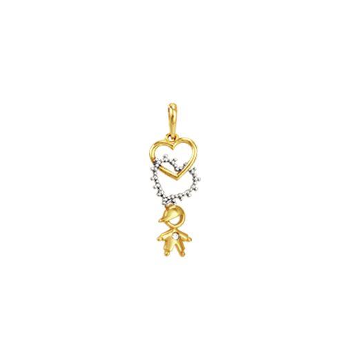 Pingente Ouro 18K Corações com Menino e Diamantes - AU2497