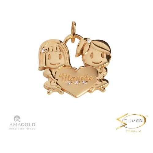 Pingente Ouro 18K Filhos Meninas Coração CP2893
