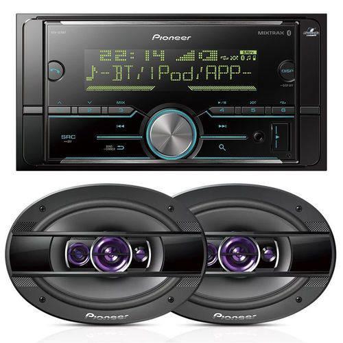 Pioneer Aparelho de Som Mvh-s618bt Bluetooth + Falante 6x9 Ts-6960