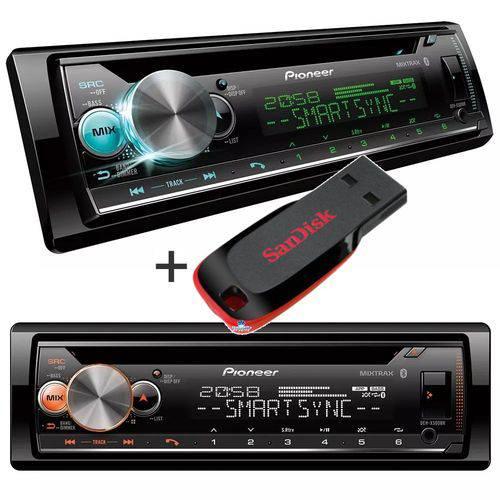 Pioneer - Cd Player Pioneer Deh-x500br Karaokê, Bluetooth + Pendrive