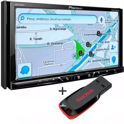 Pioneer - Dvd Pioneer 7 Avh-a4180tv Waze Spotify + Pendrive 8gb