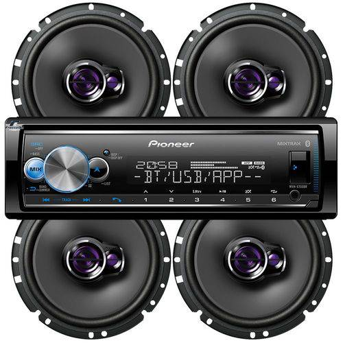 Pioneer Receiver Mvh-x700br Smart Sync Karaokê + 4 Falantes Ts-1760