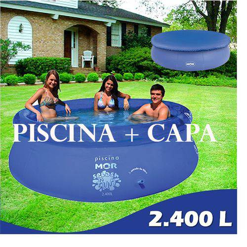 Piscina Redonda 2400 Litros + Capa, Infantil, Familiar Mor
