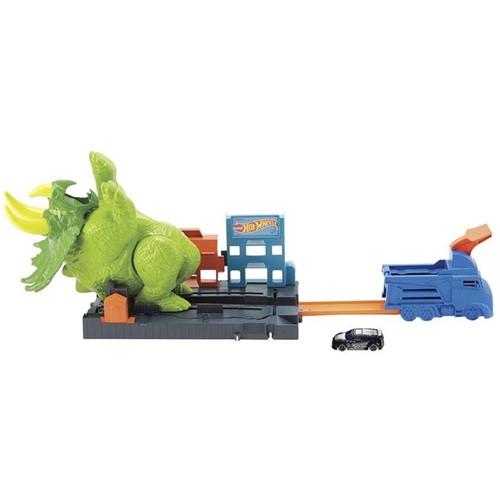 Pista Hot Wheels Ataque Triceratops GBF97 Mattel Verde