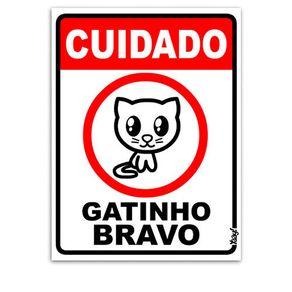 Placa Cuidado Gatinho Bravo
