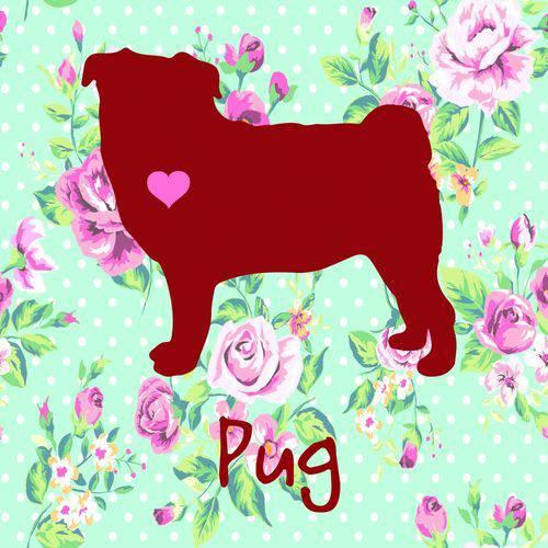 Placa de Decoração Floral Pug