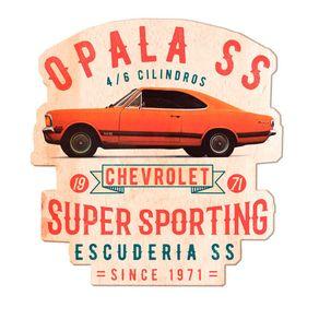 Placa de Madeira Carro Opala Laranja GM Chevrolet