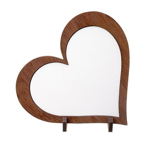 Placa de MDF Formato Coração com Moldura para Sublimação Grande