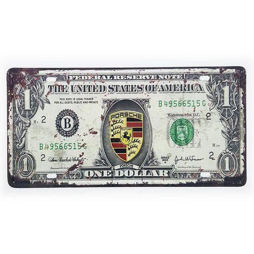 Placa de Metal Decorativa One Dollar Porsche