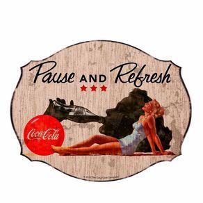Placa de Parede em MDF Coca-Cola Blond Lady Pause Refresh Vintage