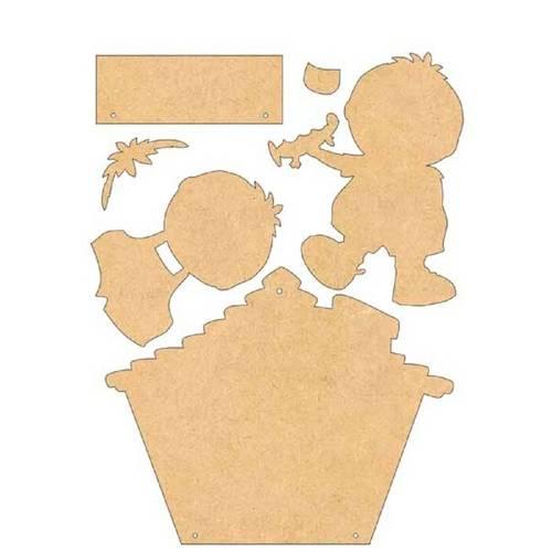 Placa de Porta Mdf Decoupage Menino Dm-034 - Litoarte