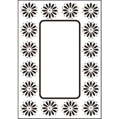 Placa de Textura Emboss 10,6x15 Cm - Modelo Moldura com Flor
