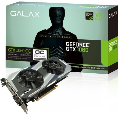 Placa de Vídeo VGA NVIDIA Galax GEFORCE GTX 1060 OC Entusiasta