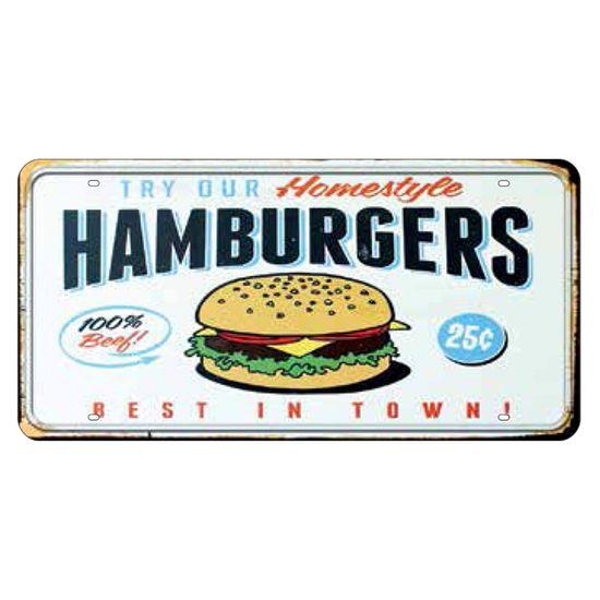 Placa Decorativa 15x30cm Hamburgers Lpd-035 - Litocart