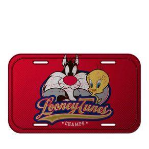 Placa Decorativa de Metal Frajola e Pui Piu Looney Tunes