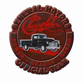 Placa Decorativa de Metal Recortada Caminhao Oficial GM Chevrolet