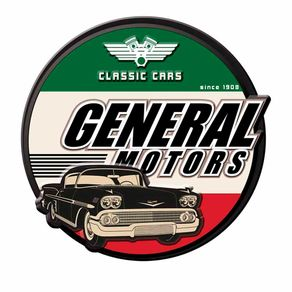 Placa Decorativa de Metal Recortada Carros Classicos GM Chevrolet