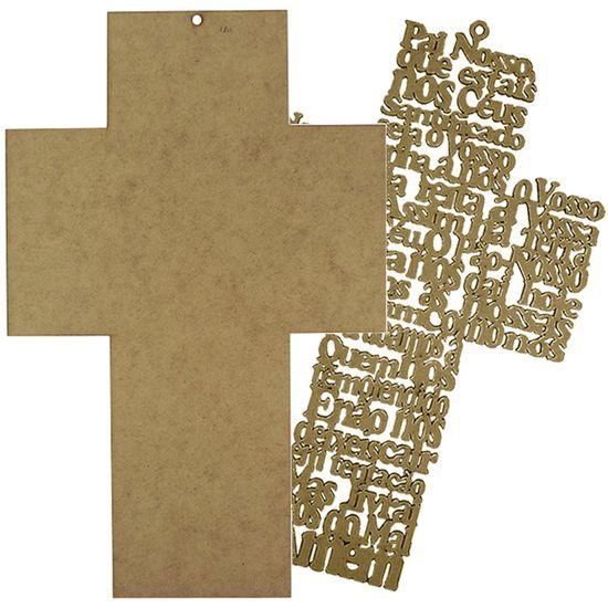 Placa Decorativa e Aplique em MDF Crucifixo 37x23,8cm - Palácio da Arte
