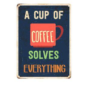 Placa Decorativa em MDF Copo de Café Cup Of Coffee
