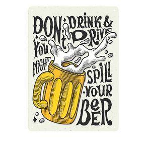 Placa Decorativa em MDF Dont Drink Beer And Drive