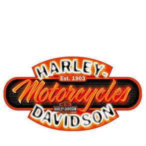 Placa Decorativa em MDF Formato Moto Harley Davidson Letreiro