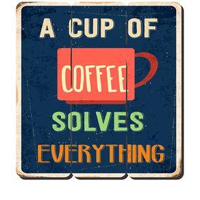 Placa Decorativa em MDF Ripado Cup Of Coffee Café