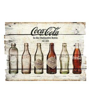 Placa Decorativa em MDF Ripado Garrafas Coca Cola