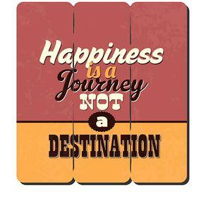 Placa Decorativa em MDF Ripado Hapiness Felicidade