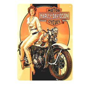 Placa Decorativa em MDF Womam In Harley Davidson
