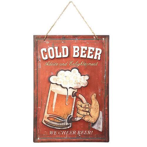 Placa Decorativa em Metal 30x40cm - Cerveja Cold Beer Red