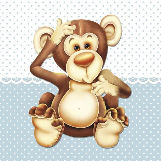 Placa Decorativa Infantil com Aplique em MDF Litocart LPQI-010A 20X20cm Macaco Fundo Azul