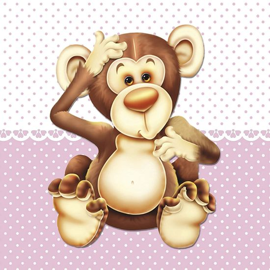 Placa Decorativa Infantil com Aplique em MDF Litocart LPQI-010R 20X20cm Macaco Fundo Rosa
