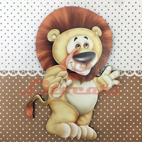 Placa Decorativa Infantil com Aplique em MDF Litocart LPQI-011M 20X20cm Leão Fundo Marrom