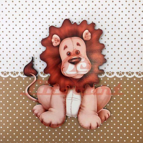 Placa Decorativa Infantil com Aplique em MDF Litocart LPQI-015M 20X20cm Leão com Fundo Marrom