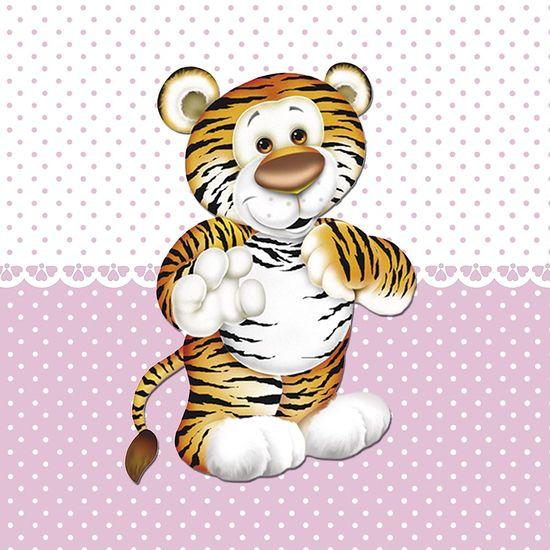 Placa Decorativa Infantil com Aplique em MDF Litocart LPQI-017R 20X20cm Tigre com Fundo Rosa